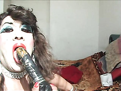 shemale sow clean the dildo with his mouth and tongue