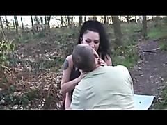 Nasty brunette gangbanged in the woods
