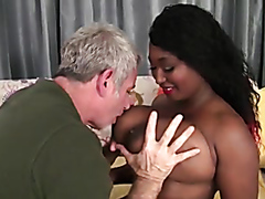 Black chick with huge tits fucked