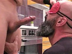 blindfolded sucker takes anonymous load