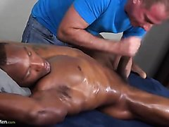 Straight Black / Massage : Serviced Black Stallion