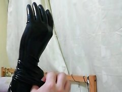 Putting my gloves on