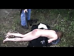 Crazy amateur babe spanked outdoors