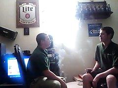 smoking friends in great lighting