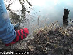Red socks at the river