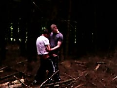 Two brit scally lads play in the woods