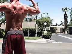 Naked bodybuilder in public