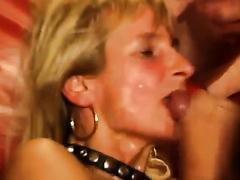 Mature blonde loves facial cumshots