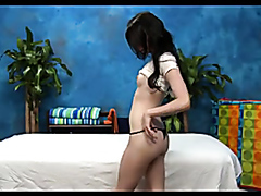 Petite teen drilled on the massage table