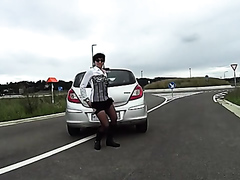 woman using car