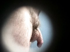 Spying through peephole in public shower (small dick)