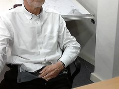 old man stripping and wanking at the office