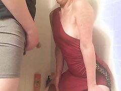 Girl in Dress Gets pissed on
