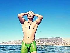 Green underwear in lake