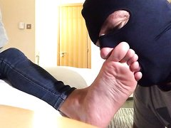 Slave worships my one month old worn socks and perfect bare feet