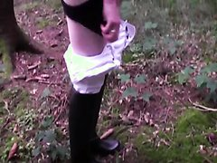 public piss in rubber riding boots