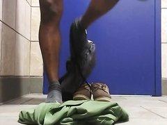 Cum-Dump Unloading in Public Bathroom