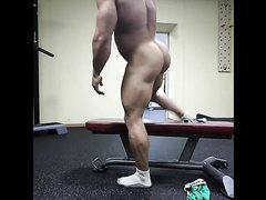 bodybuilder taking a dildo in the gym, shower, and again