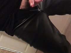 Leather Pants Wank ..(No Cum)