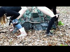 Two Girls Pissing on and in Tent