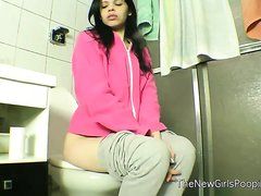 Lady farting non-stop in the toilet