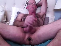 Daddy uses glass plug, cums and shows feet at end