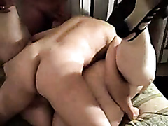 Obese slut drilled by two studs