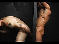 Hardcore threesome through glory holes