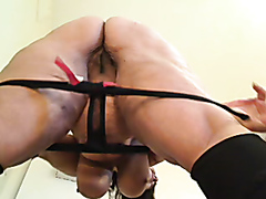 Busty fat milf stripping and masturbating