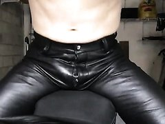Leather biker humps and creams his bike seat