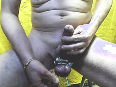 4 needles in balls testicles CBT( cam front)