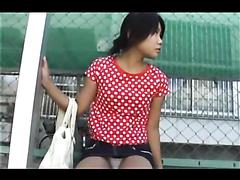 Asian girl shits herself in public