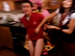 Guy stripped by girls at party