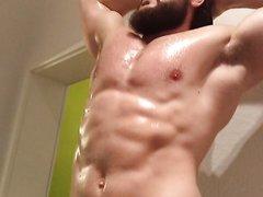 Muscleman flexes hard 2