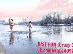 RUSSIAN COLD BATH IN FROZEN WATER