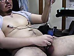 bear nipples electro and masturbate