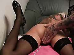 Tattooed blonde fisted by her man