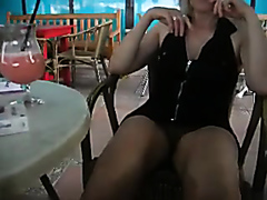 Hot amateur blonde flashing pussy in public
