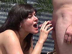 Cute black haired girl in piss action