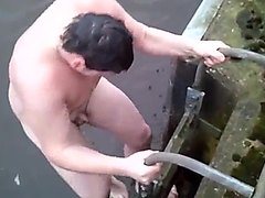 Chubby guy dared to skinny dipping