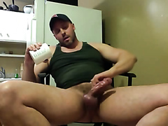 Guy playing with his hot cock