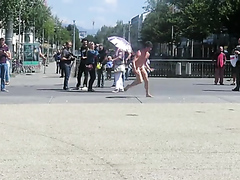 Nude artistic performance on the street
