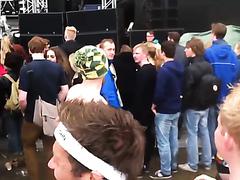 Crazy naked guy enjoying the concert