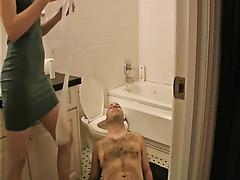 Skinny girl pissing in her boyfriend's mouth