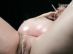 Pregnant woman dancing and smoking