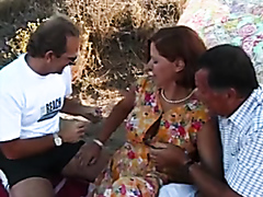 Milf gangbanged by three horny mature guys