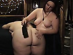 Fat lesbians in some hot BDSM action
