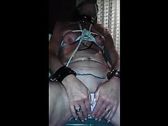 Granny masturbating with a big dildo