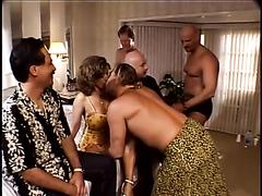 Slutty milf gangbanged in a hotel room