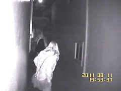 CCTV - Girls caught peeing between two houses in San Francisco